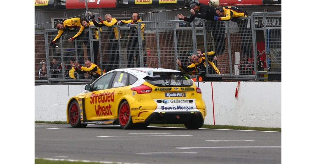 Team Shredded Wheat Racing with Gallagher celebrates the race 3 win at Brands Hatch